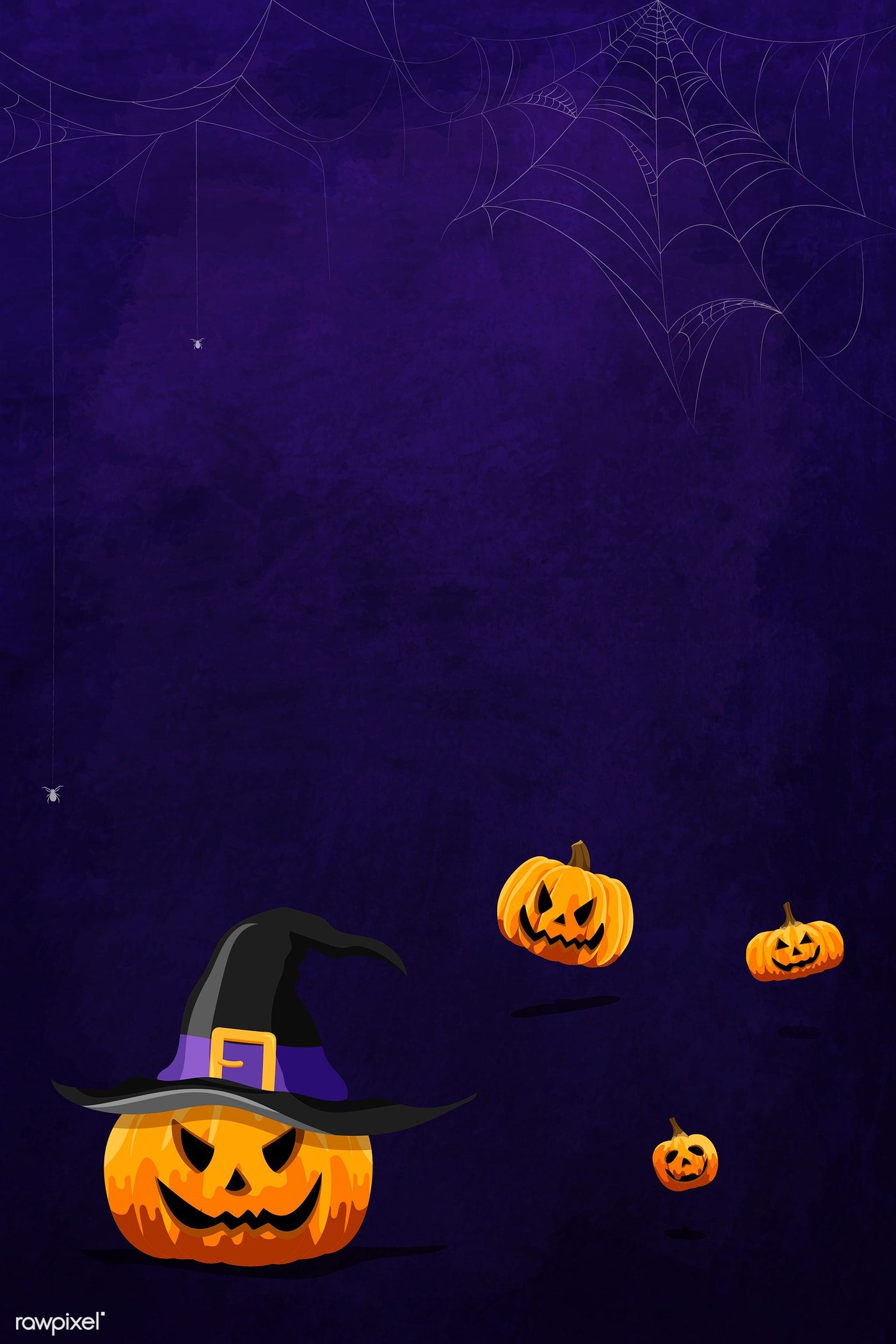 Jack O Lantern Pattern On Purple Halloween Background Template
