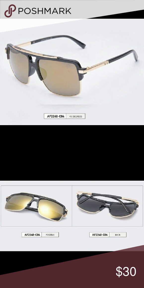 Gold mirrored sunglasses Black and gold plastic frame with gold ...