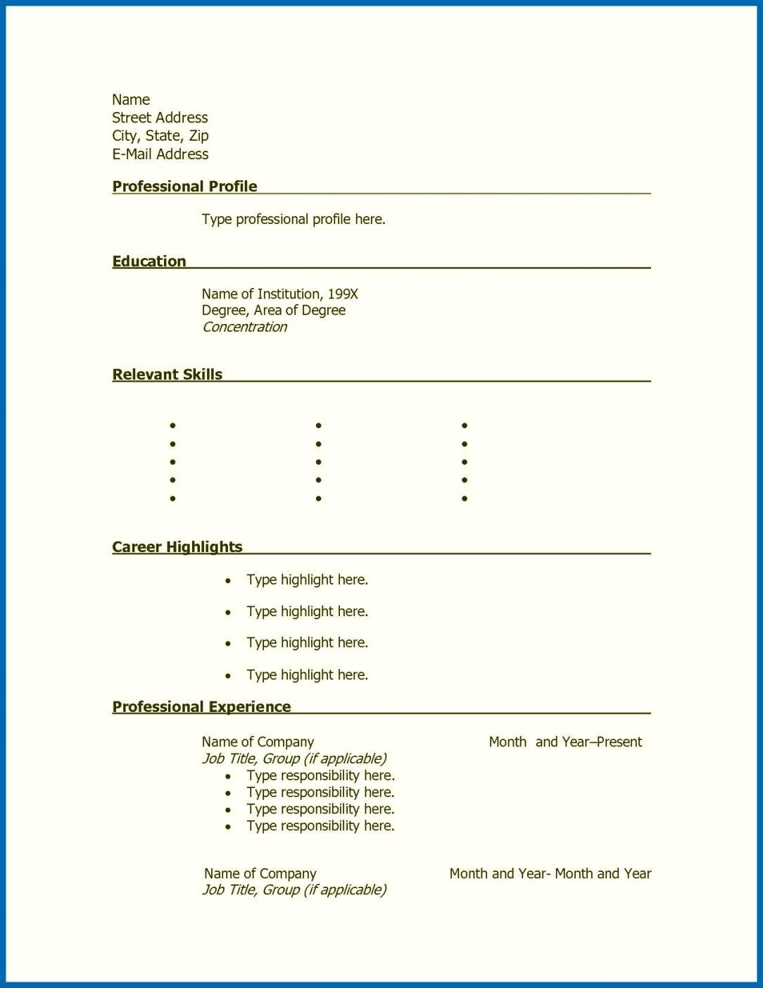 Printable Resume format, Free printable resume, Simple