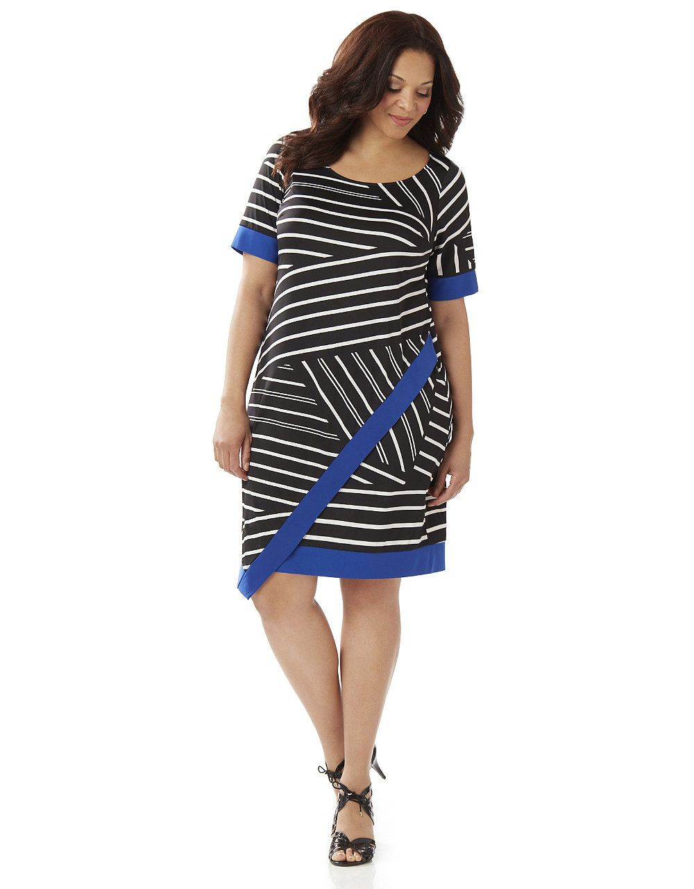 Striped Contrast Shift Dress Catherines Clothes Pinterest