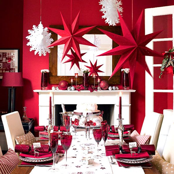 Modern Holiday Decorating Ideas Part - 25: Red Black And White Quinceanera Decorations | Modern Red And White Christmas  Decor Modern Christmas Decorating