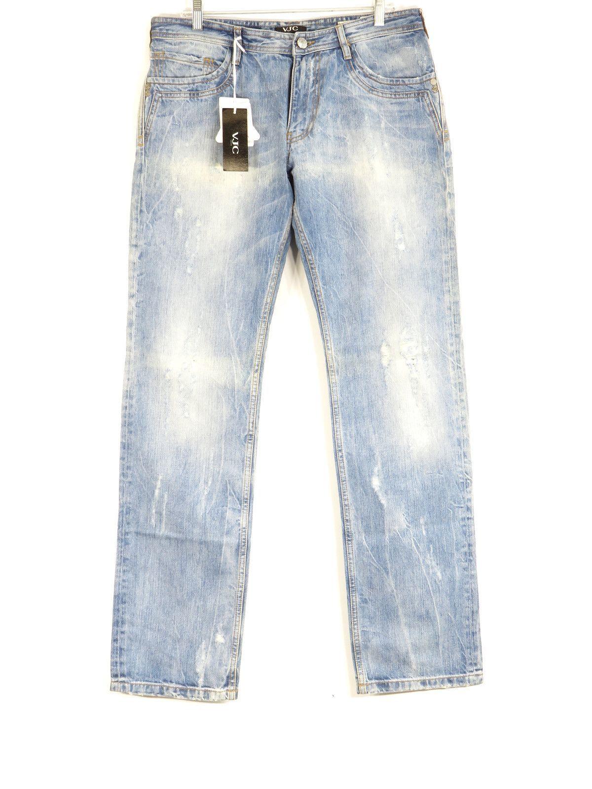 45ea4cdb VERSACE Jeans Couture Men Light Wash Regular Fit Distressed Jeans 36