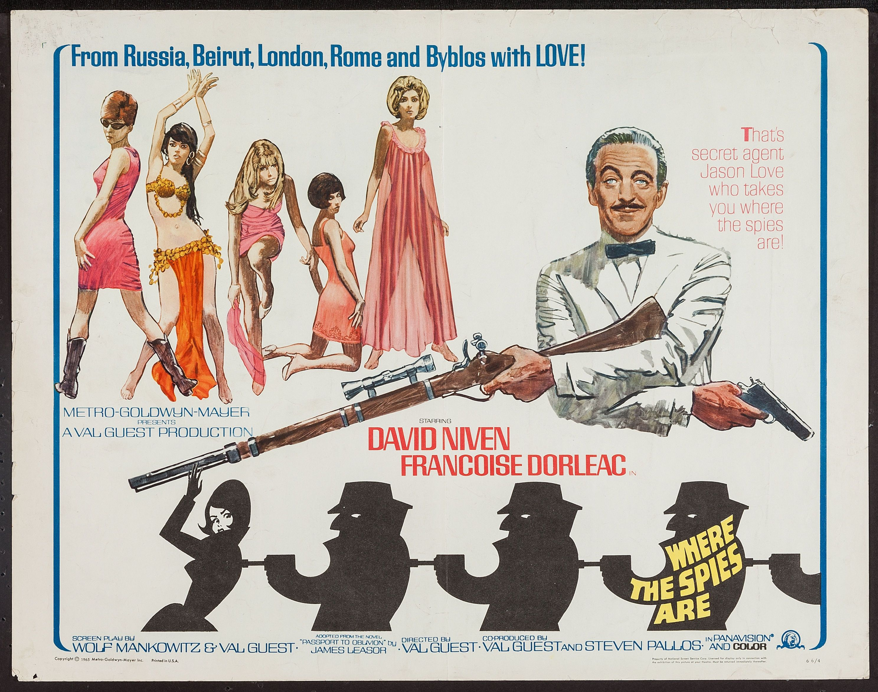 Where the spies are David Niven vintage movie poster