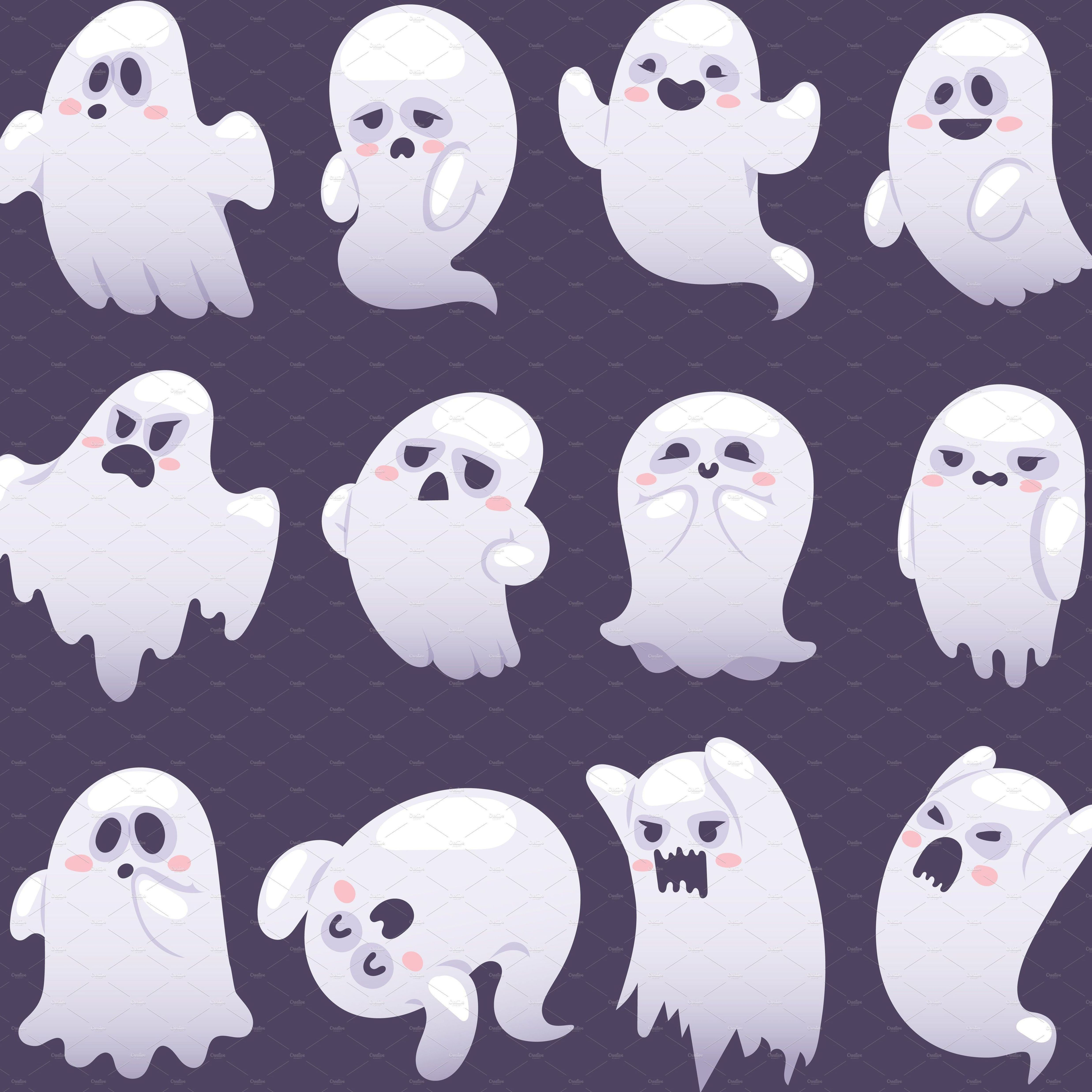 Cute Ghosts clipart set personal and commercial use vector Spooky digital clip art set.