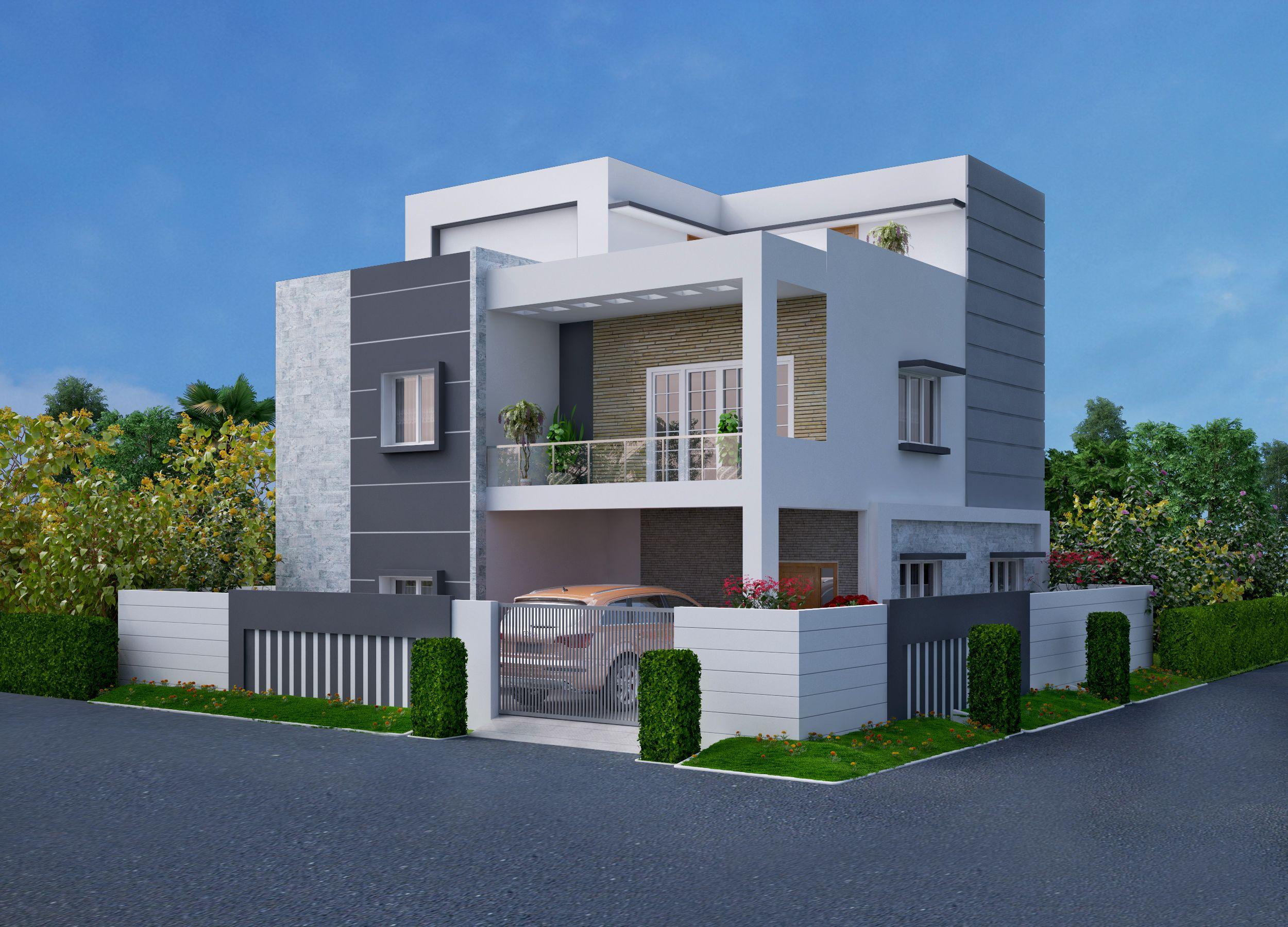 Triplex villa exterior House styles, House, 3d
