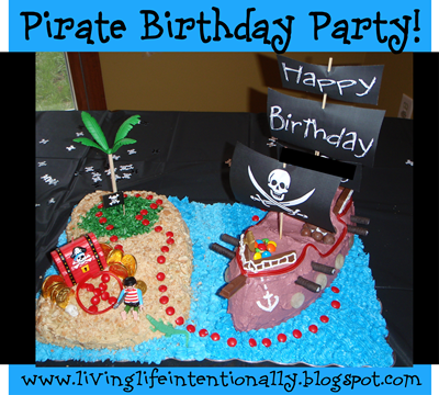 Pirate Birthday Party with decorations, food ideas, DIY Pirate cake, games, gift recommendations, and more!