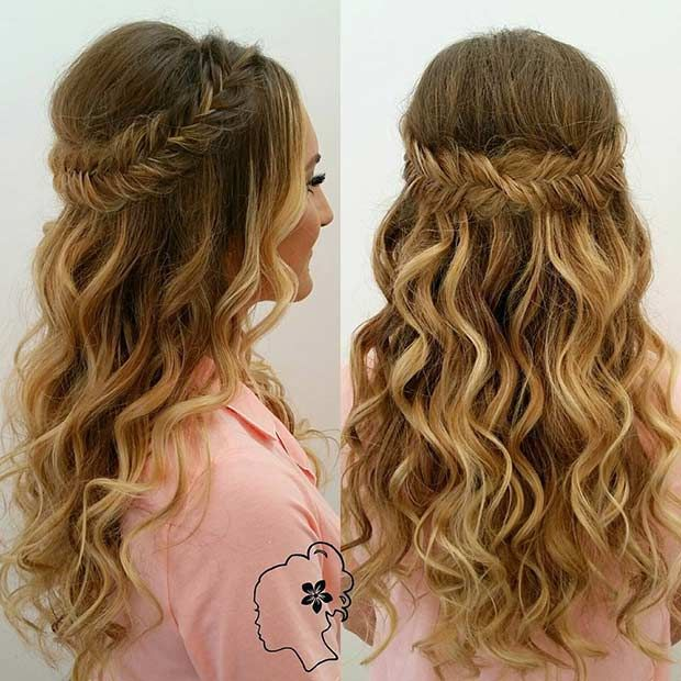 31 Half Up Half Down Hairstyles For Bridesmaids Page 2 Of 3 Stayglam Fishtail Braid Hairstyles Prom Hairstyles For Long Hair Wedding Hair Down