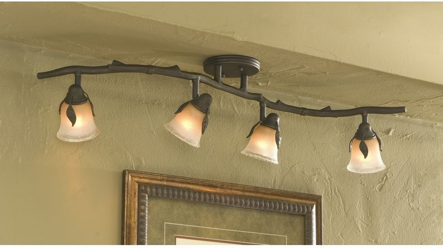 Fixed Track Light Kit 4 Light Fixture Old Bronze Dimmable Vine