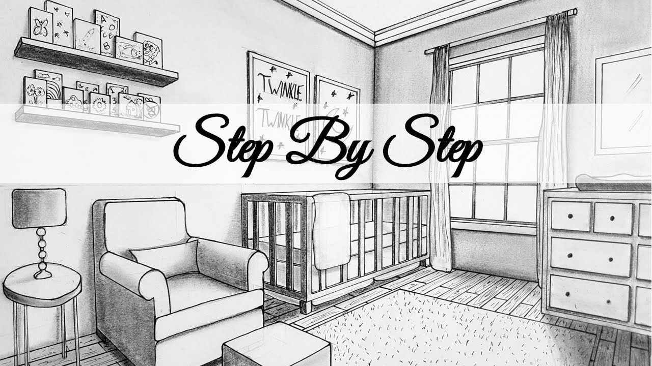 How To Draw In Two Point Perspective Nursery Room Step By Step Practice Interior Design Programs Drawing Interior Nursery Room