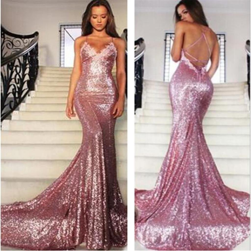 Backless cheap sequin sexy sparkle mermaid long prom dresses