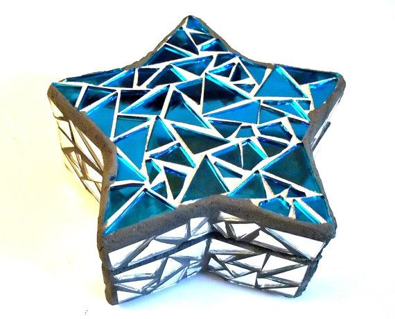 Mosaic Jewelry Box Stars Wishes Dreams Blue Silver Mirror Stained