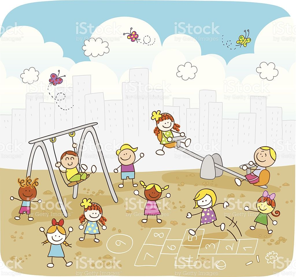 Happy Summer Children Playing At Park Cartoon Illustration Royalty Free Stock Vector Art School Illustration Kids Playing Child Day