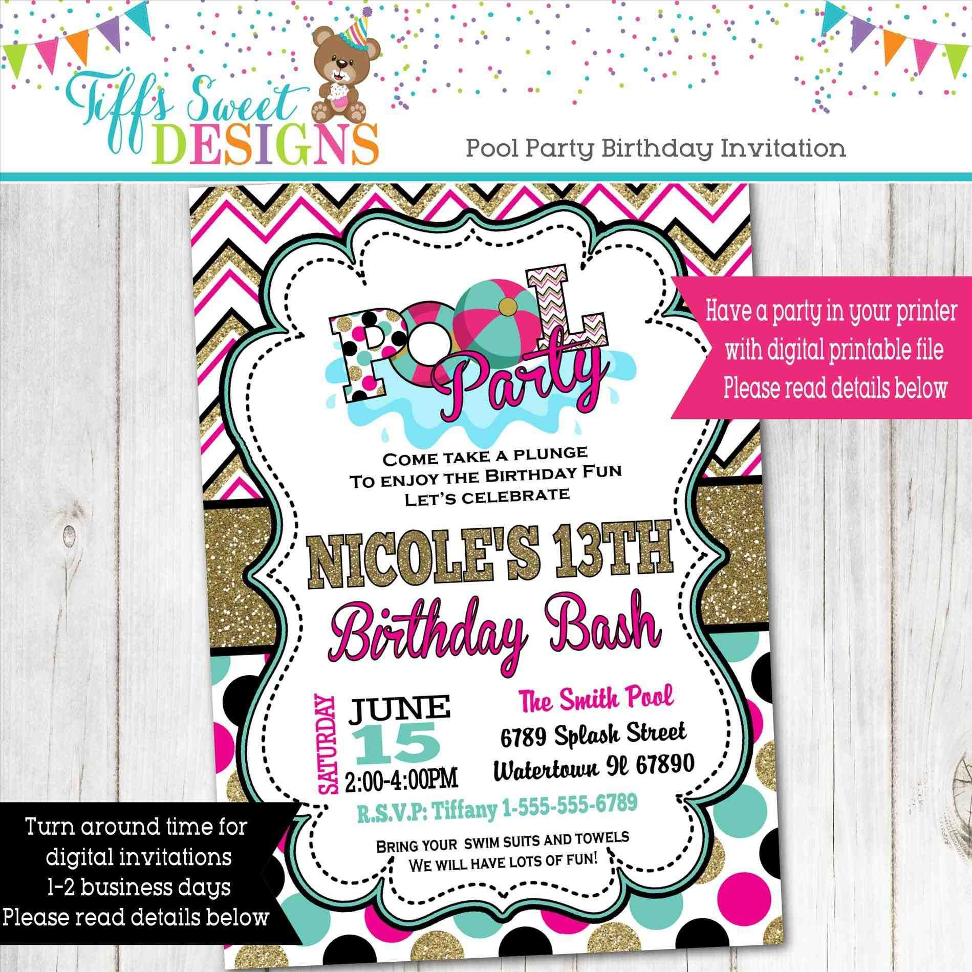 pool party invitation ideas homemade gallery party invitations ideas ...