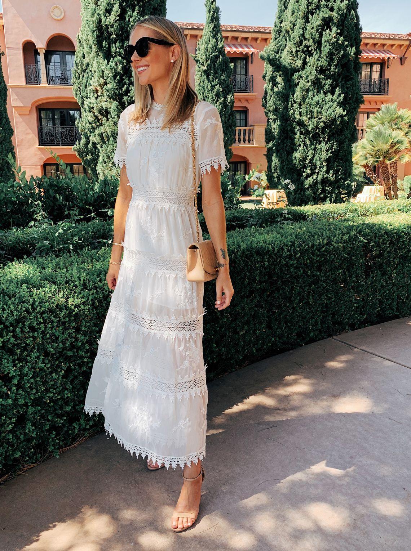 Bridal brunch outfit fashion jackson white lace maxi