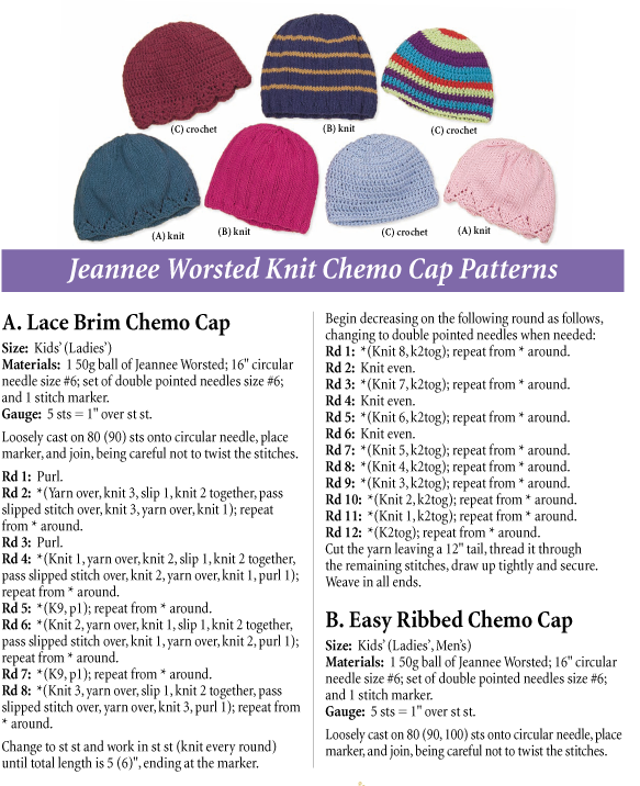 Jeannie Worsted Chemo Cap Patterns Page 1 | Crochet Patterns & Tips ...