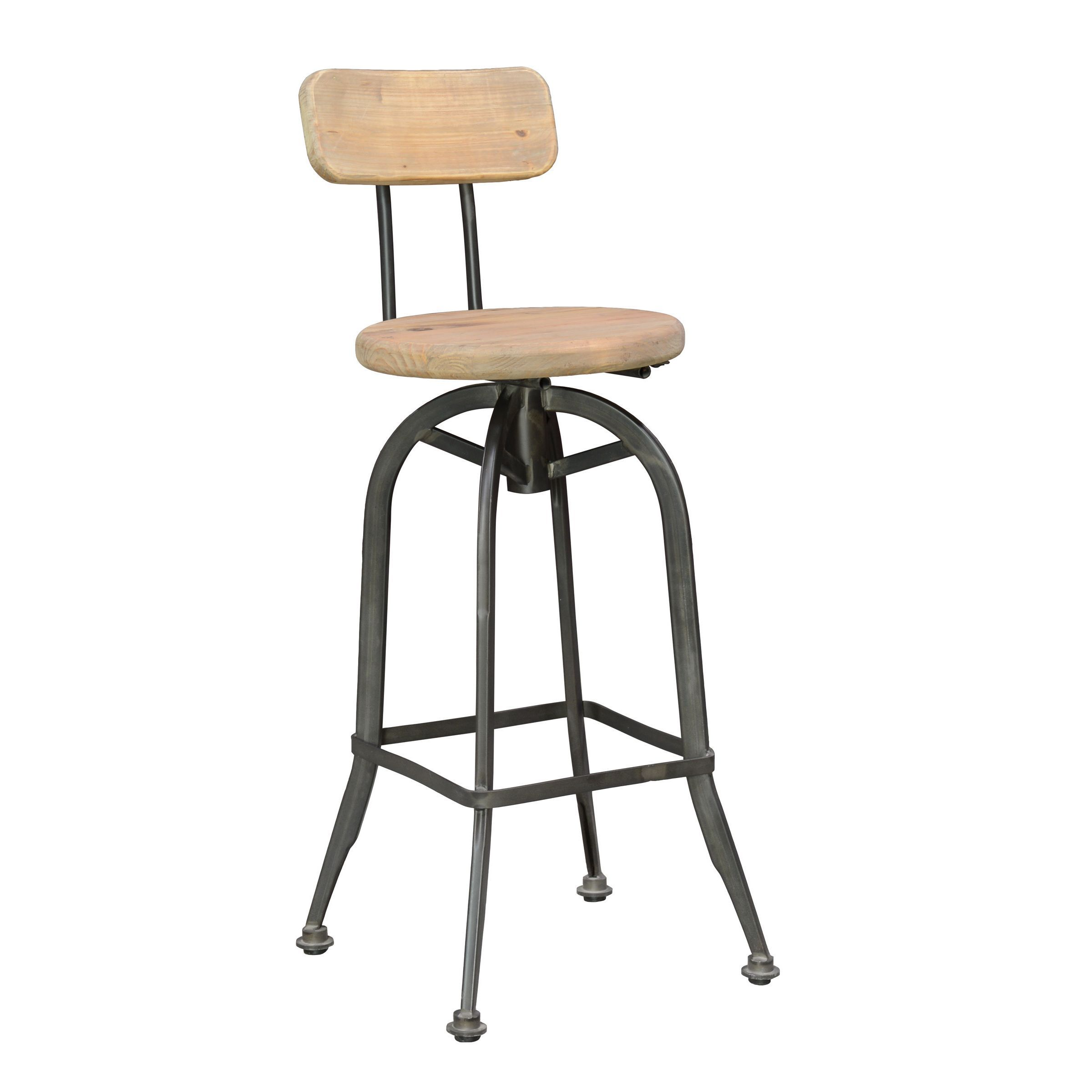 The 30 inch high barstool is constructed of durable iron and pine for a classic elegant style that is perfect for a home bar or any other area a stool is preferred.