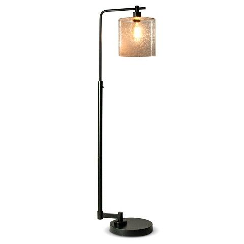 90 retail thresholdtm seeded glass industrial floor lamp for Floor lamp seeded glass