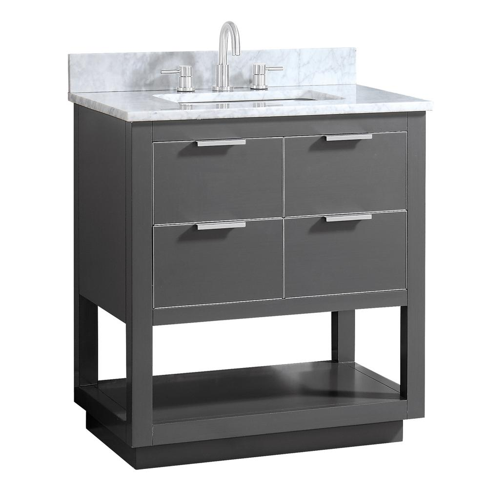 Avanity Allie 31 In W X 22 In D Bath Vanity In Gray With Silver