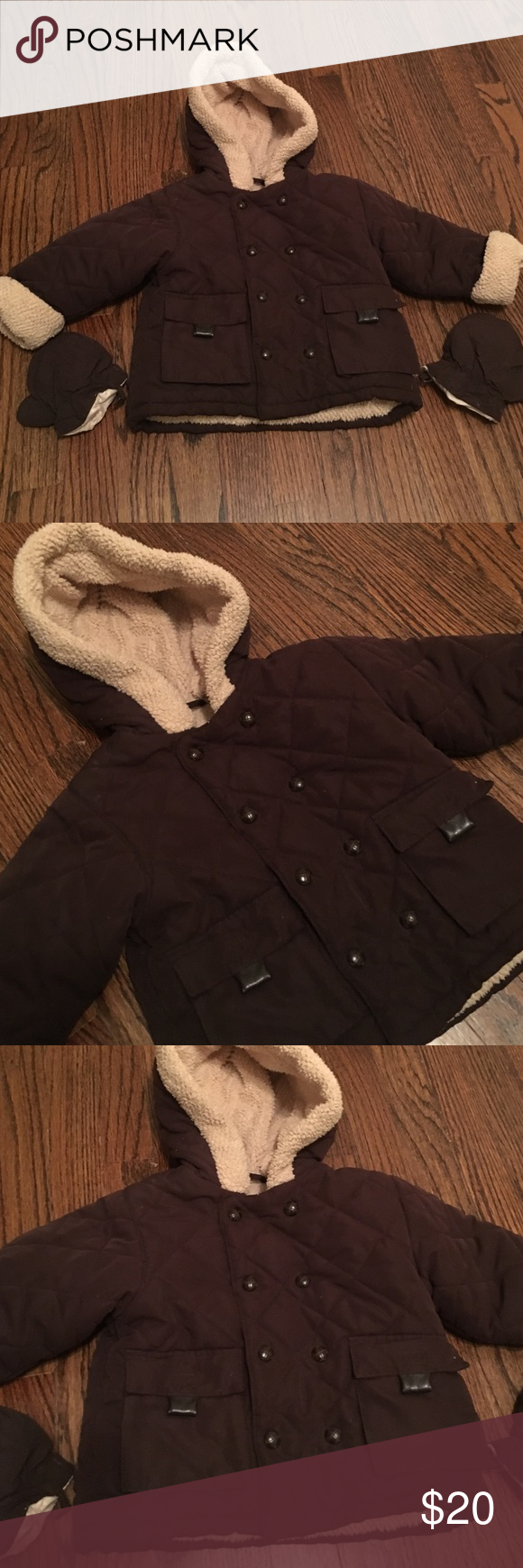 ⛄️Little boys fleece lined coat and mitten set⛄️ Super warm boys fleece lined coat with matching mittens. Chocolate brown zip and snap front coat with front pockets. In very good condition. Size 12 months. Brand is Below Zero purchased from Lord and Taylor. From a smoke and pet free home. ❌no trades❌ Below Zero Jackets & Coats