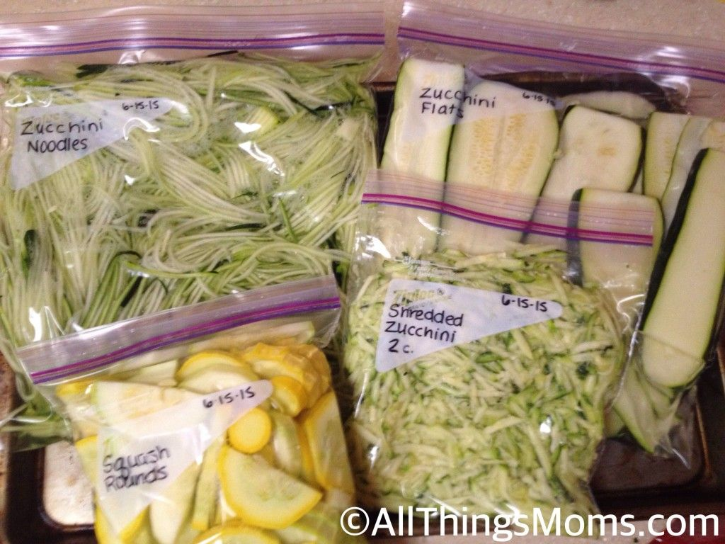 By adding the water to the bag, you prevent the squash & zucchini from becoming soggy and gross. As the water freezes, the squash and zucchini are able to ...