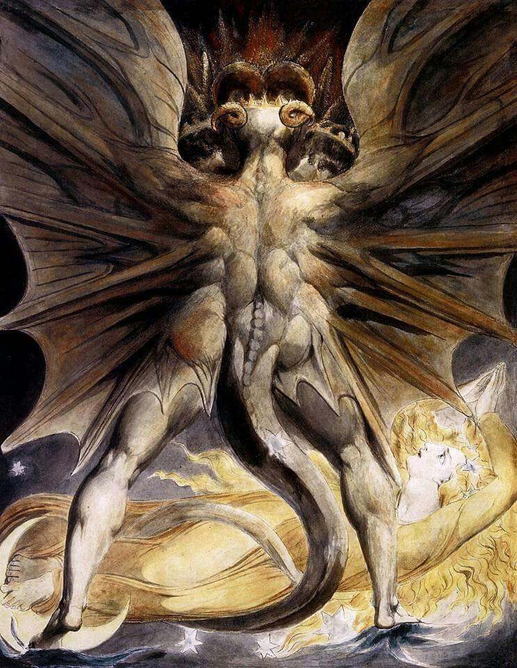 The Great Red Dragon and the woman clothed by the sun. by William Blake.