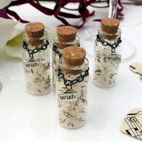 50 Dandelion Seed Gl Vial Wedding Favor Good Luck Keepsake Favour Make A
