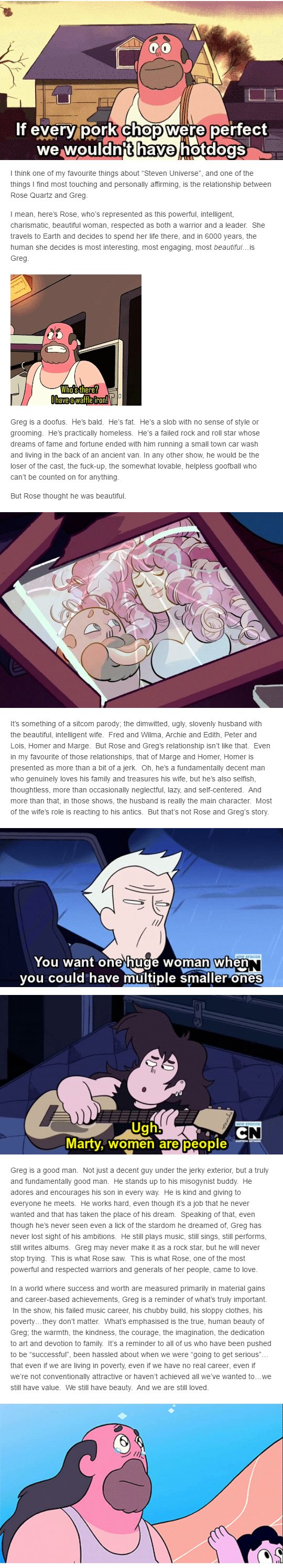 A beautiful analysis of Greg Universe and his relationship with Rose Quartz.