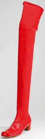 Roger Vivier - Chaussure 'Bas' - Cuir et Tissu Elastique Rouge - 1967