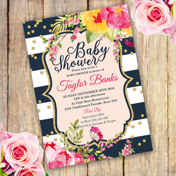 Printable Watercolor Floral Baby Shower Invitation Template -Edit - baby shower invitations download