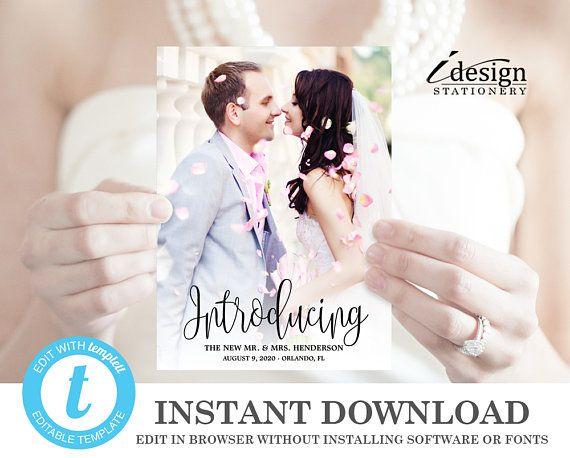 Wedding Announcement Cards Printable Template Editable