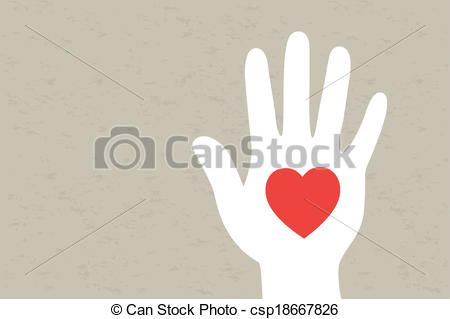 Line Art Of Heart : Vector hand with heart stock illustration royalty free