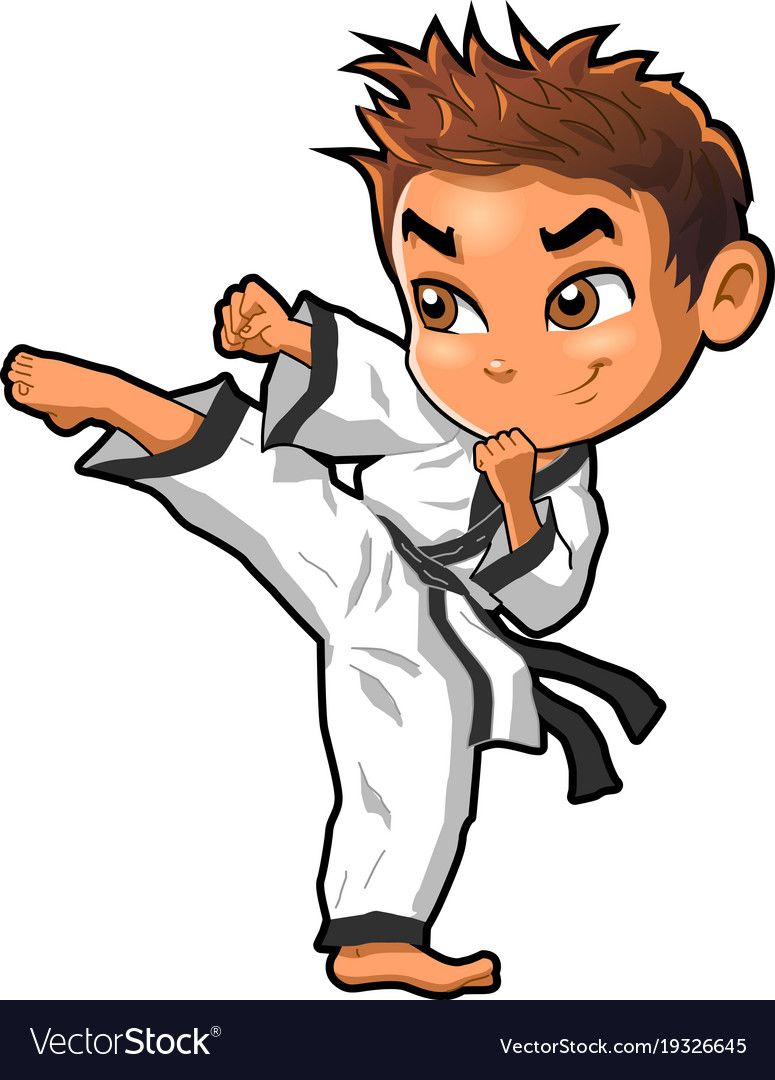 Karate Martial Arts Tae Kwon Do Dojo Vector Clipart Cartoon Boy Kick Download A Free Preview Or High Quality Adobe Karate Martial Arts Karate Boy Martial Arts
