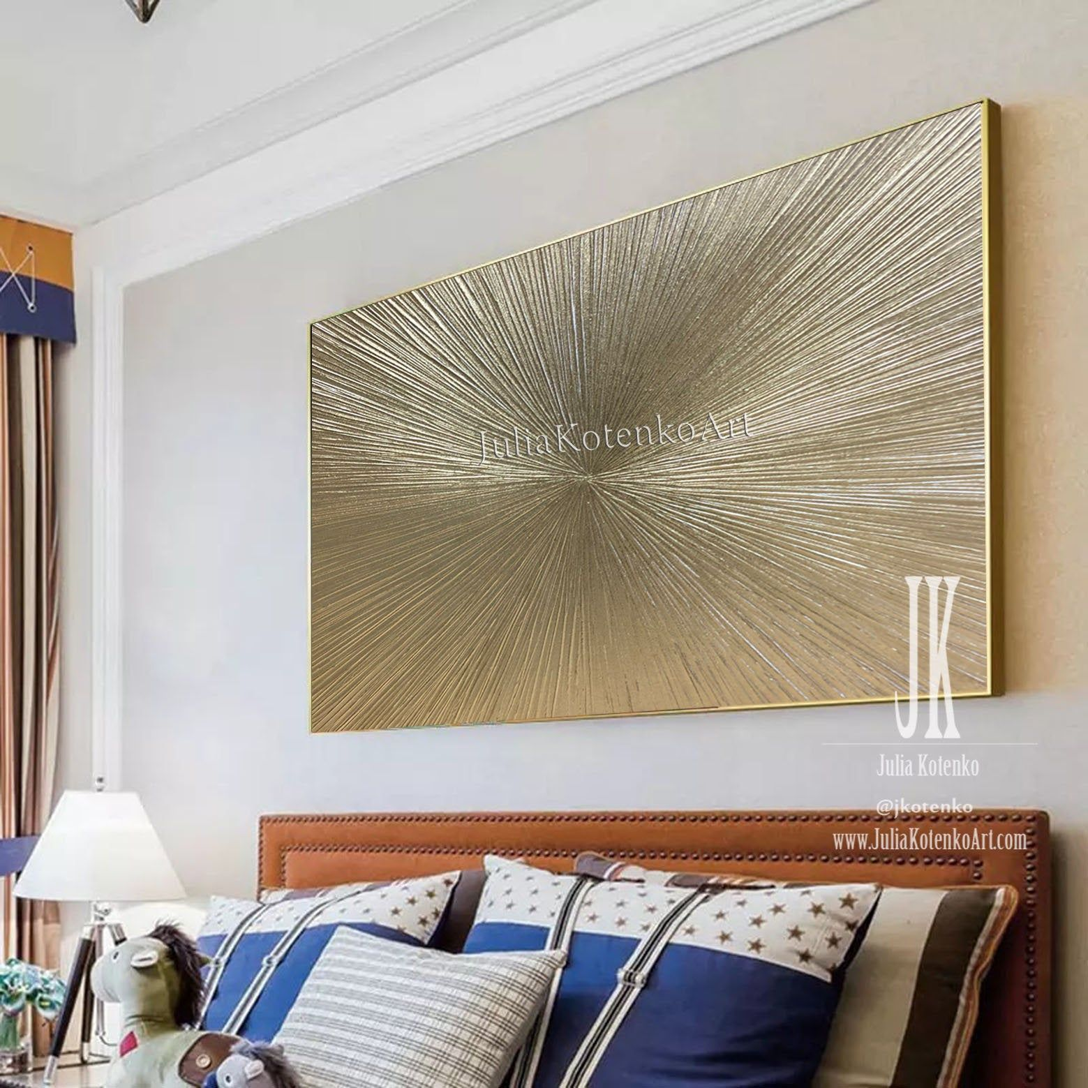 Gold Leaf Painting Oversized Paintings Champagne Gold Textured