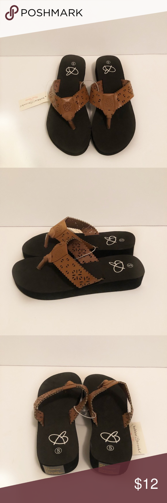 c1cc701f19c Brand new Bobbie Brooks Flip Flops Adorable brown faux leather straps with  cut out designs and