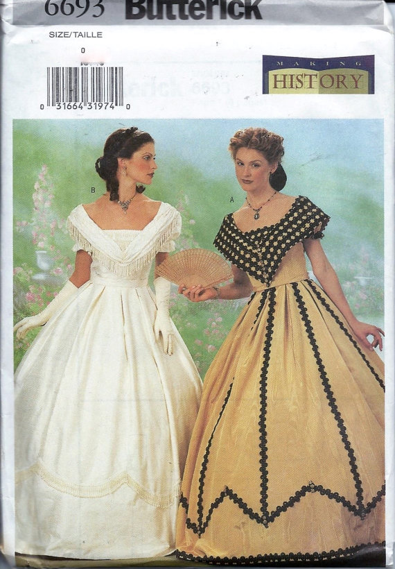 Butterick 6693 Civil War Dress Costume Sewing Pattern Historical ...
