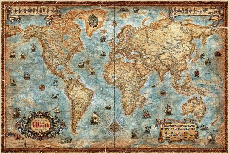 carte du monde ancienne voyages cartes. Black Bedroom Furniture Sets. Home Design Ideas