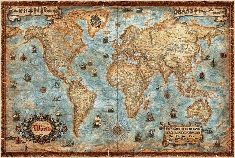 carte du monde antique Poster Monde Antique papier | Carte du monde, Cartes murales