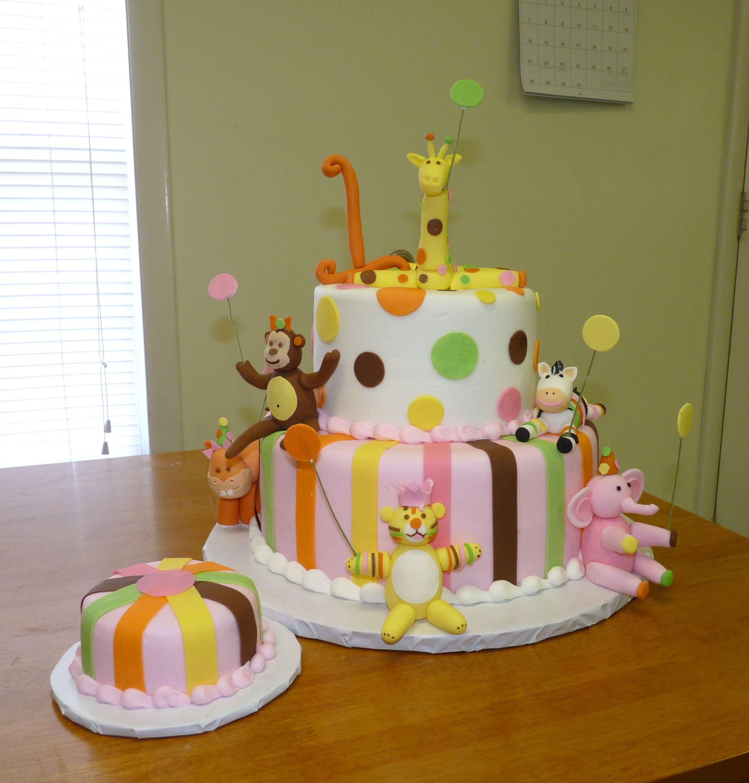 Sweet Safari 1st Birthday Butter Cake Iced In Buttercream Stripes