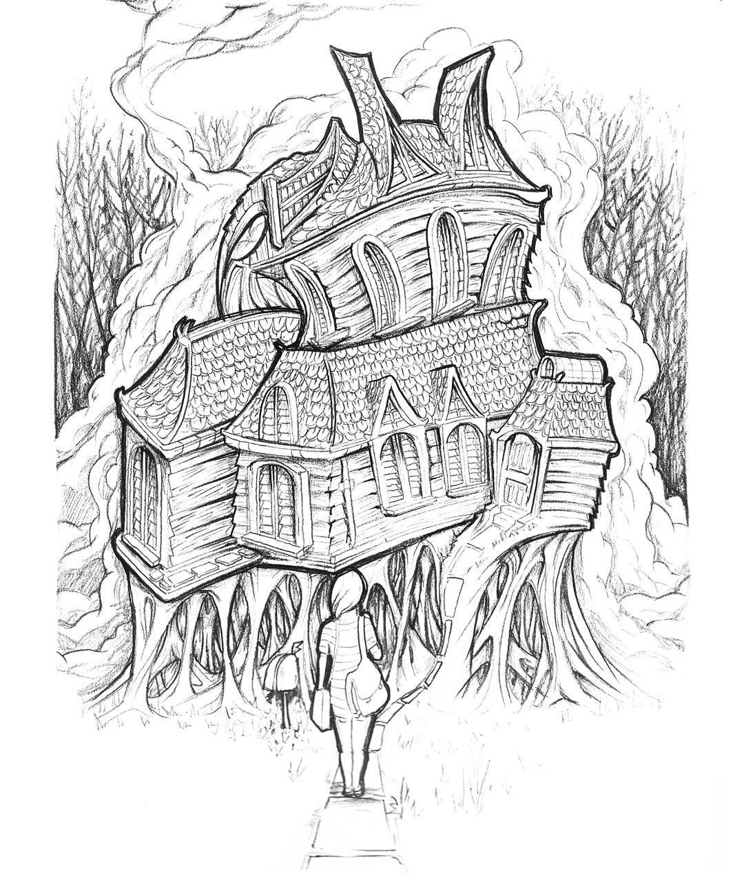 That feeling when you go to a new place. // #house // #creepy // #pencil // #draw // #drawing // #architecture // #building // #girl // #spooky // #sketchbook // #trippy // #surreal // #psychedelic // #forest //