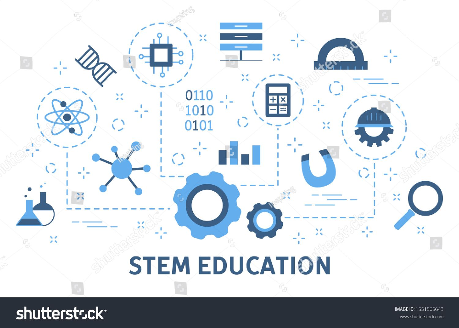 Stem Concept Science Technology Engineering And Mathematics Idea Of Education And Knowledge Set O Mathematics Engineering Education Science And Technology