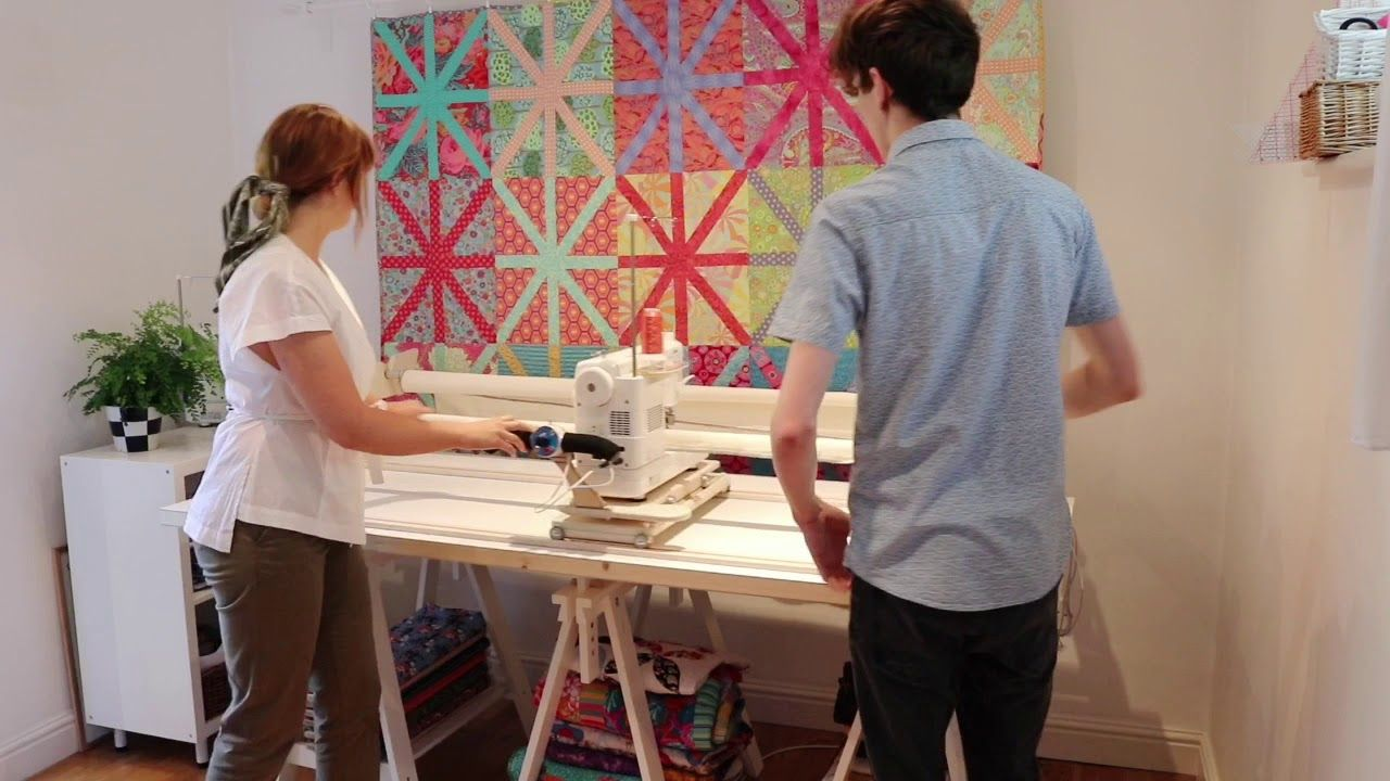 Setting Up The Machine Quilter Frame In 2020 Quilting Frames Whole Cloth Quilts Machine Quilting