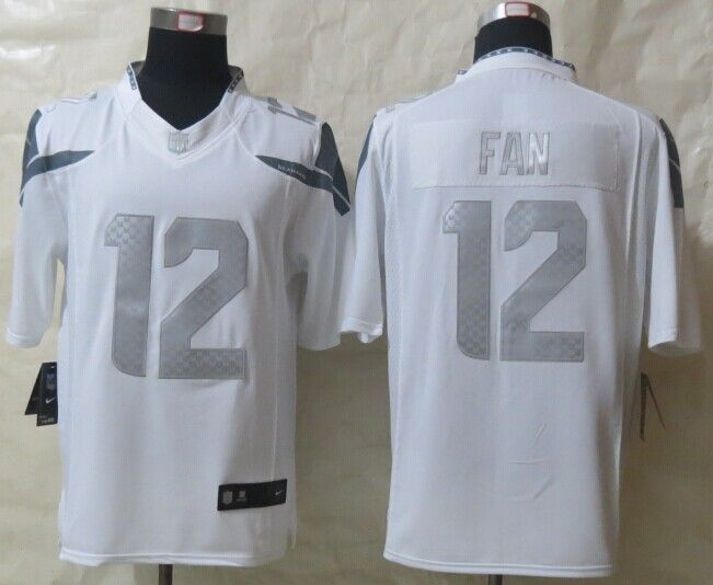 8cf40bee6 Seattle Seahawks 12 Fan Platinum White 2014 New Nike Limited Jerseys ...