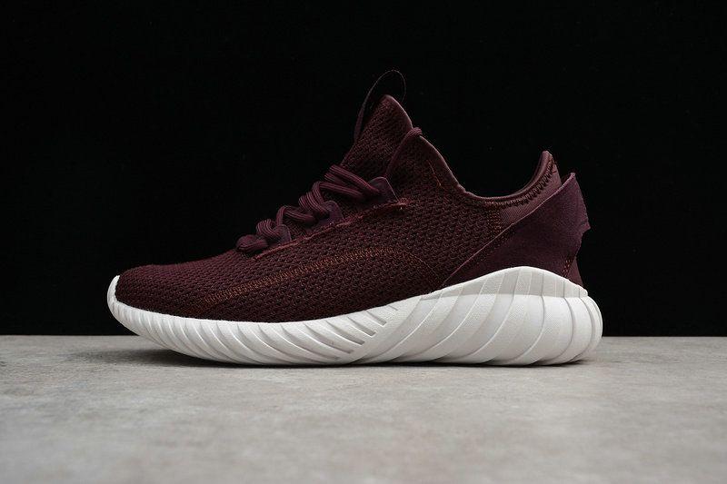 Chaussures de mode Unisex Adidas Tubular Doom Sock Primeknit Burgundy White  blanc BY3565 Youth Big Boys Sneakers a4bd81280