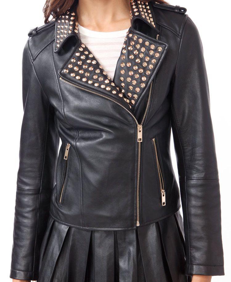 Studded Leather Moto Jacket   FOREVER21 - 2031557365