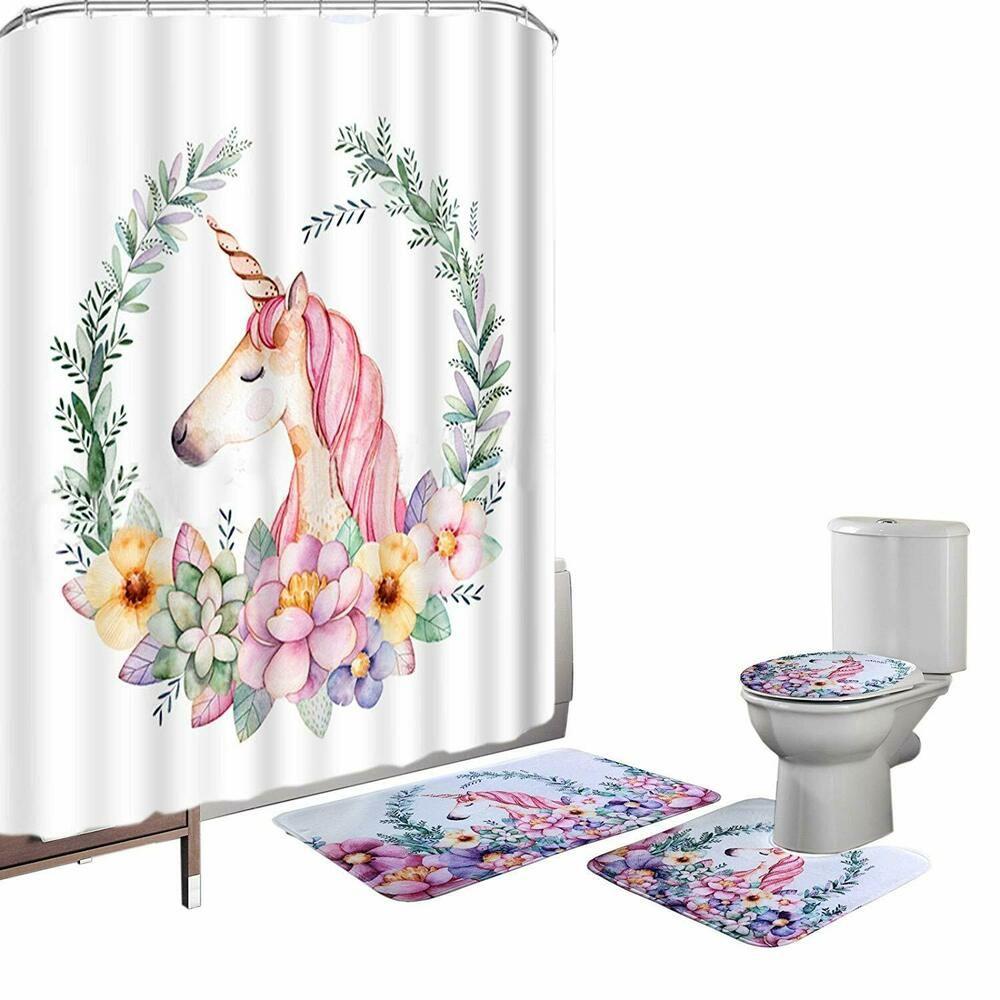 Cute Rainbow Unicorn Shower Curtain Bath Mat Toilet Cover Rug Bathroom Decor Set