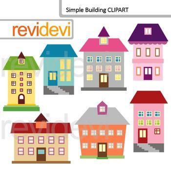 Clip Art Building School Building Houses Apartments Digital Clipart Simple Building Clip Art Arts And Crafts Movement
