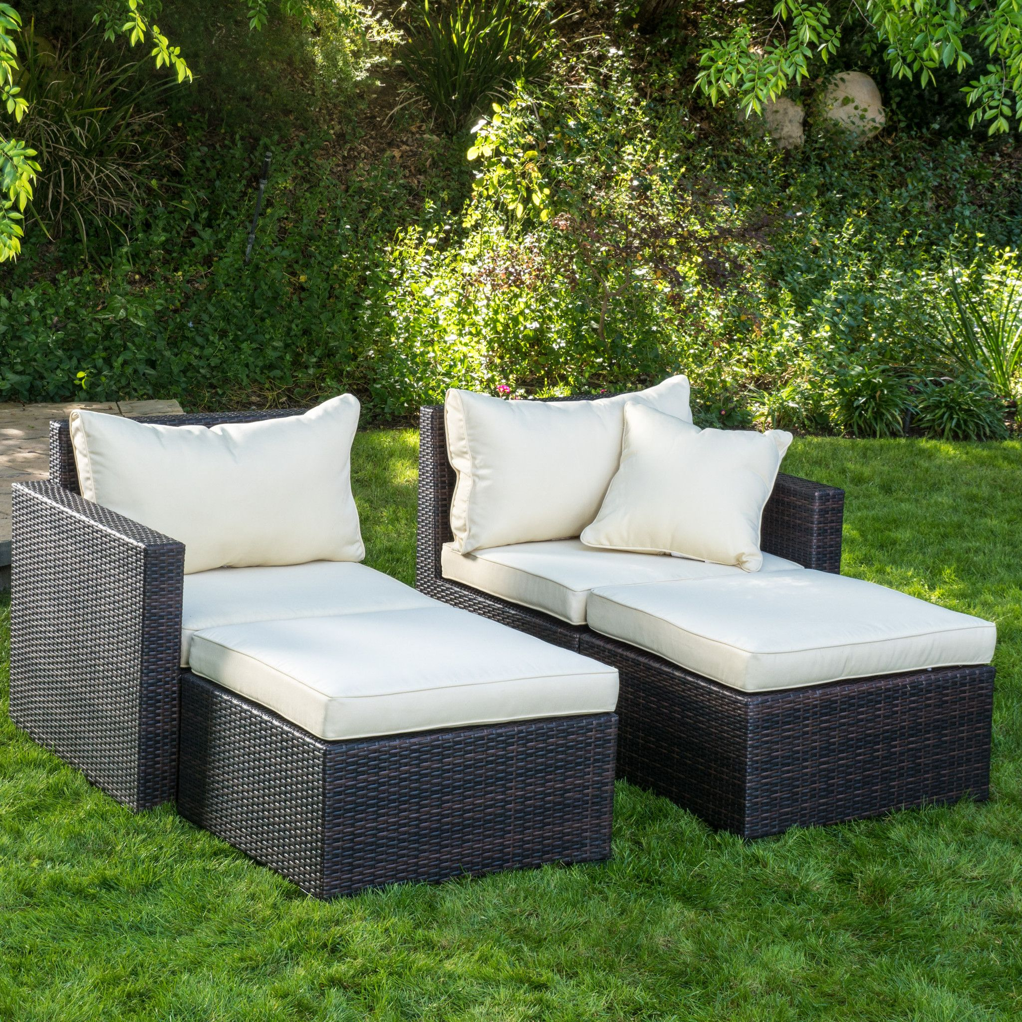 Madelyn Outdoor 4pc Brown Wicker Chaise Sectional Set