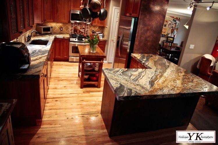 6cm Leathered Magma Gold Granite Kitchen Install Kitchen