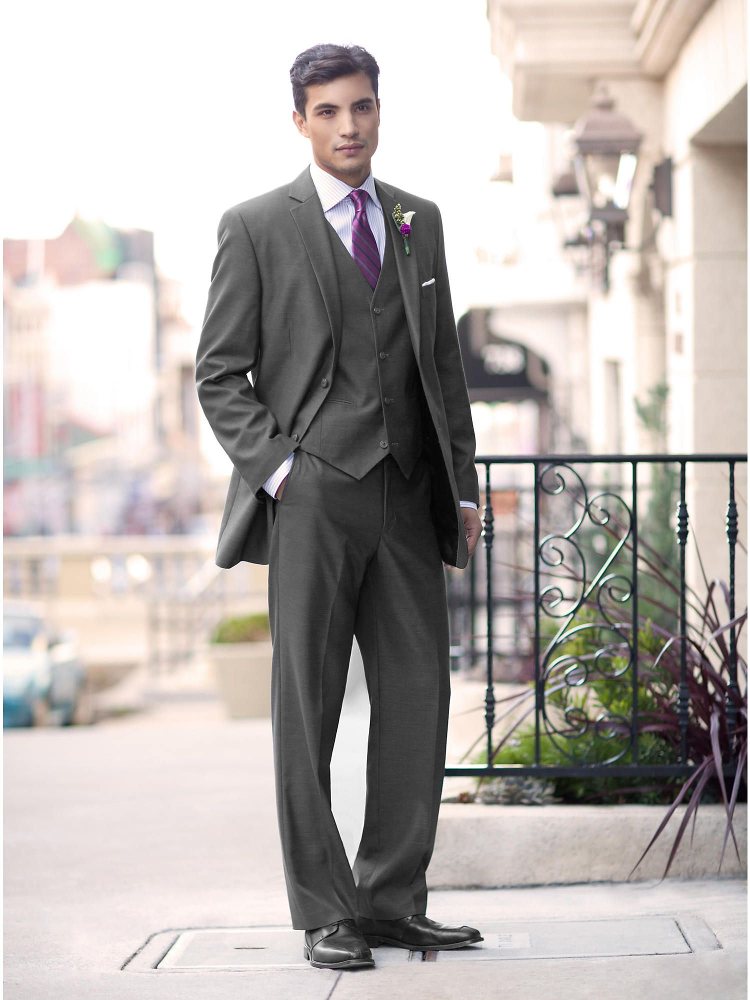 Wedding Party Gray Vested Suit - Wedding Party | Men\'s Wearhouse ...