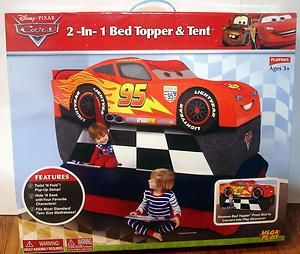 New Disney Lightning McQueen Cars Twin Bed Topper u0026 Tent 2 in 1 Twist N Fold & New Disney Lightning McQueen Cars Twin Bed Topper u0026 Tent 2 in 1 ...
